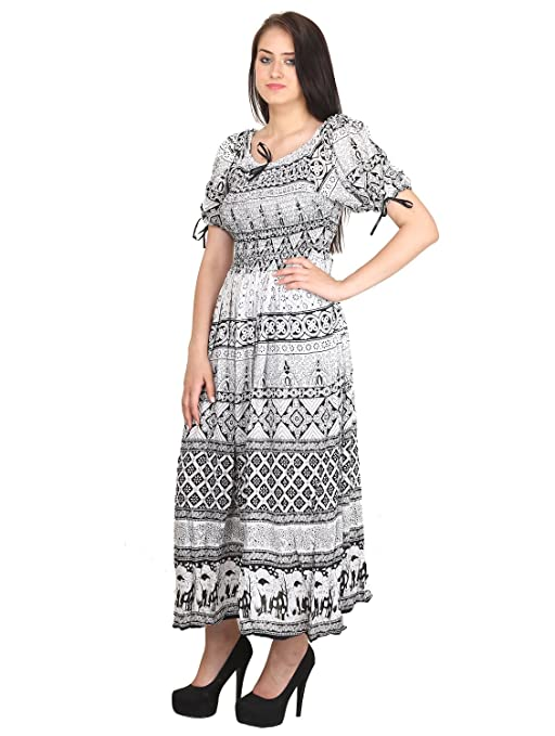 194e4c87f2 INDIAN FASHION GURU Womens Printed Rayon Maxi Dresses Women's Ethnic  Unstitched Fabric