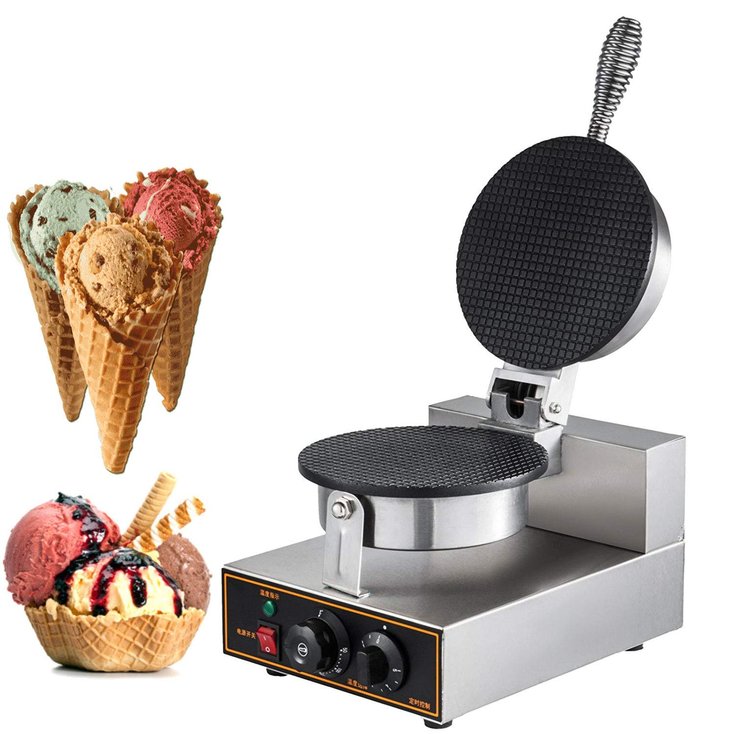Happybuy Electric Ice Cream Cone Waffle Maker Machine 1200W Stainless Steel Nonstick Surface for for Commercial Home Use, 10x13 inch, by Happybuy