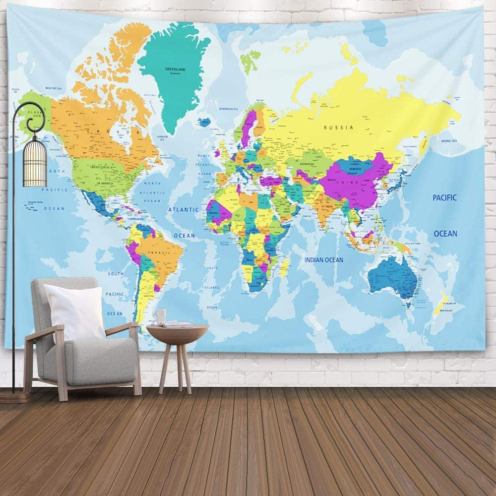 Blue Map Tapestry,Capsceoll Tapestry Wall Map Map Tapestry Wall Kids Map Tapestry World Map Tapestry Blue Map Tapestry Blue Kid Map Tapestry for College Dorm Decor 80X60 Inches,Blue Orange