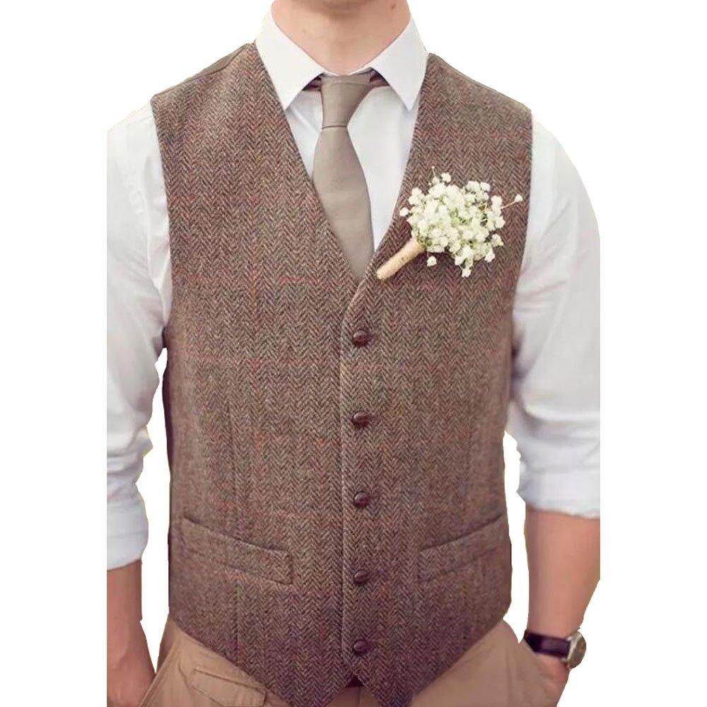 Dressydances Men's Brown Tweed Vests Wool Herringbone British Style Slim Fit Blazer Wedding Suits (L)
