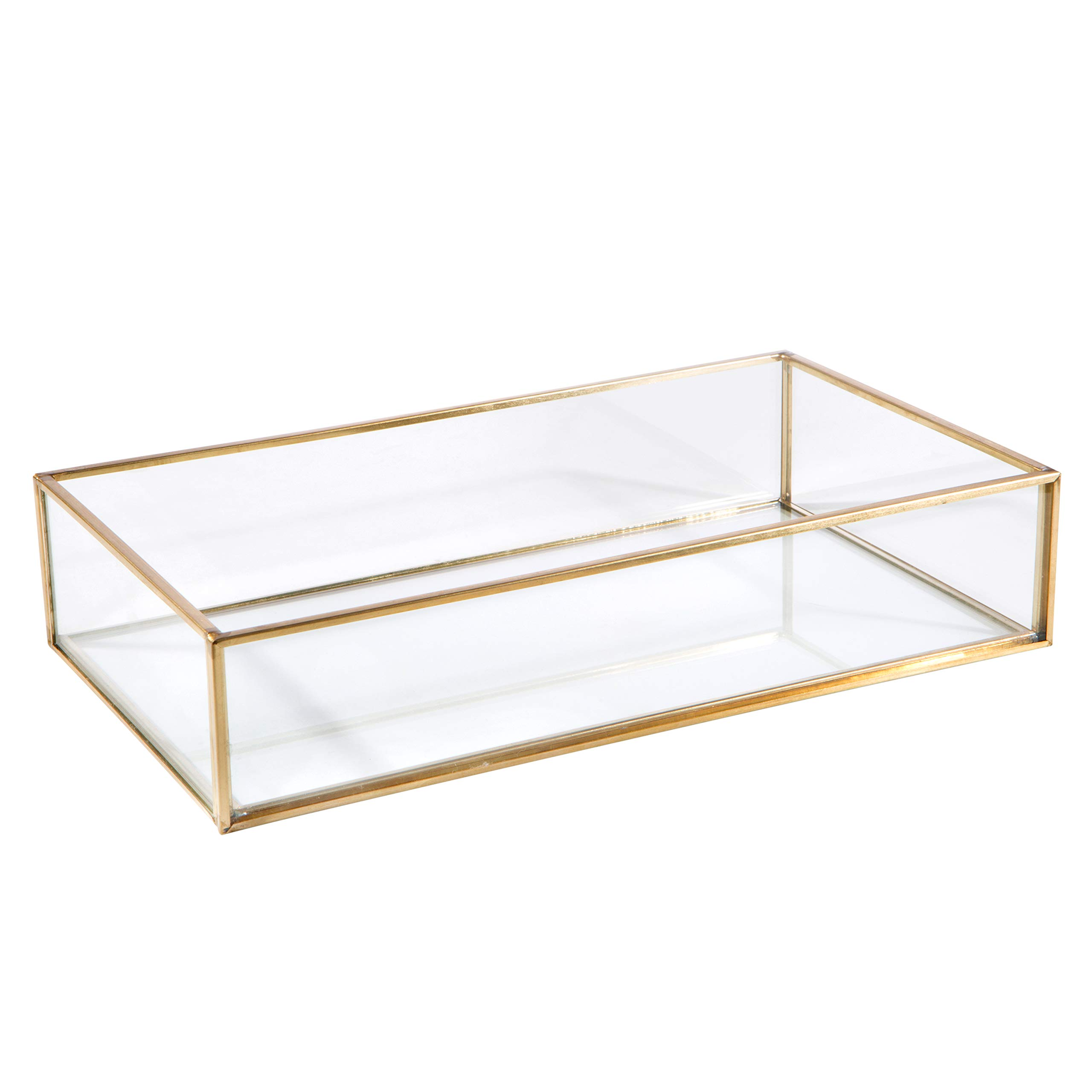 Home Details Vintage Mirrored Bottom Glass Keepsake Box Jewelry Organizer, Decorative Accent, Vanity, Wedding Bridal Party Gift, Candy Table Décor Jars & Boxes, Gold by Home Details