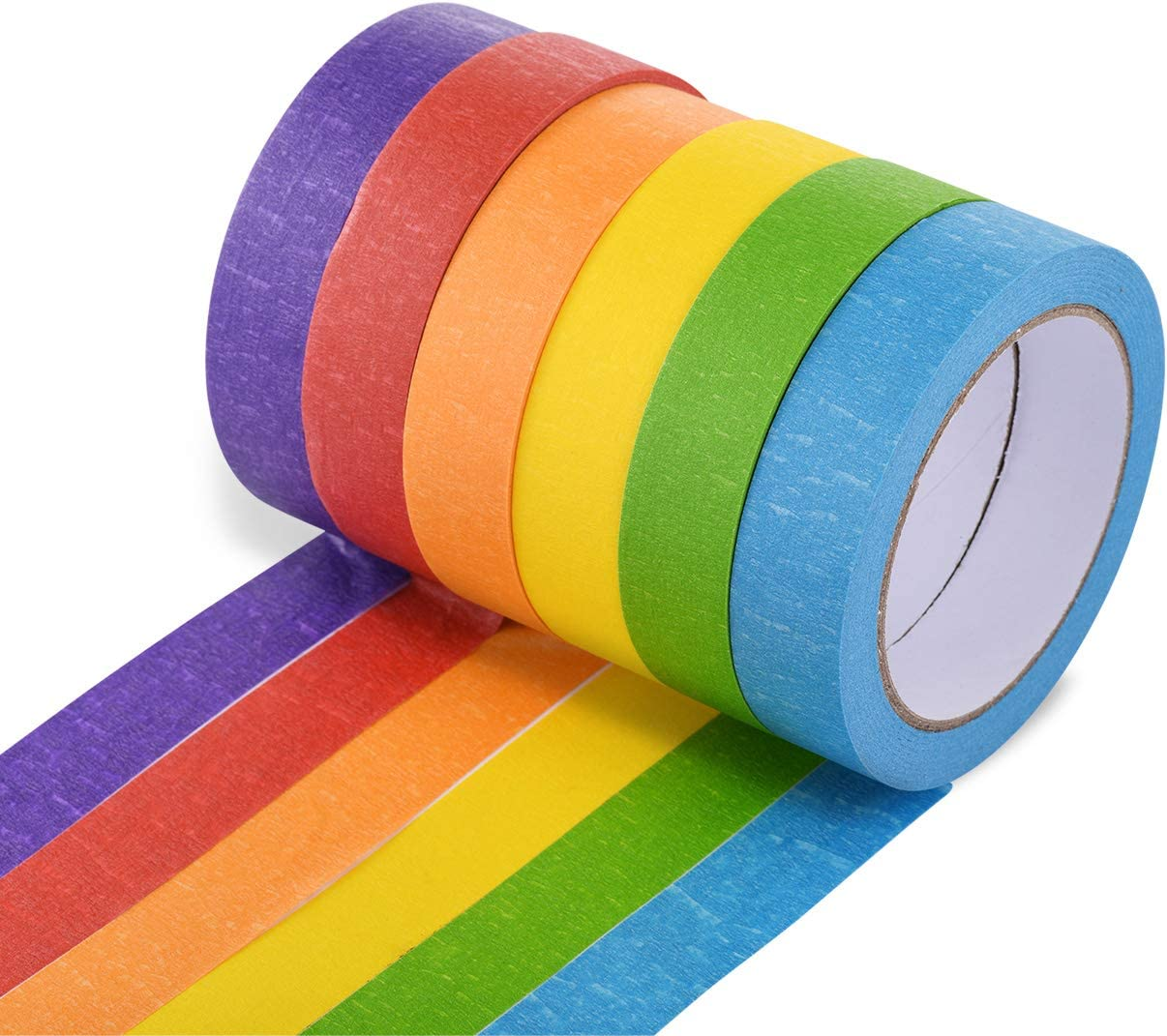 Colored Masking Tape 6 Pieces 1 Inch x 30 Yard Rainbow Masking Tape Labelling Tape, Assorted Color Coded & Kids DIY Art Supplies, Home Decoration, Office Supplies (6 Color)
