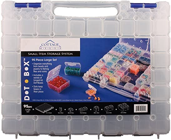 DotBox Conjunto grande 95 pc de Cottage Mills. 94 cajas de almacenamiento en un estuche. Es el mejor sistema de almacenamiento de artículos pequeños para cuentas, joyas, artesanías,etc: Amazon.es: Hogar