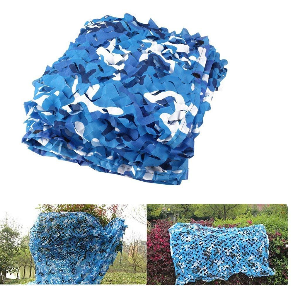 elecfan Camo Netting Blue & White, Outdoor 6.6 ft x 10 ft Camouflage Netting Military, Camping Hunting Shooting Blind Sunscreen Camo Net Watching Hide Party Decorations