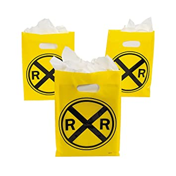 Fun Express - Railroad Plastic Treat Bags for Birthday - Party Supplies - Bags - Plastic Bags - Birthday - 12 Pieces