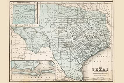 Map Of Texas Meme.Map Of Texas 1867 Antique Style Map Poster 12x18 Inch