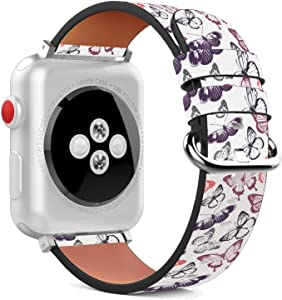 Compatible with Apple Watch 42mm / 44mm Replacement PU Leather Wristband Bracelet with Stainless Steel Clasp and Adapters - Purple and Pink Butterflies