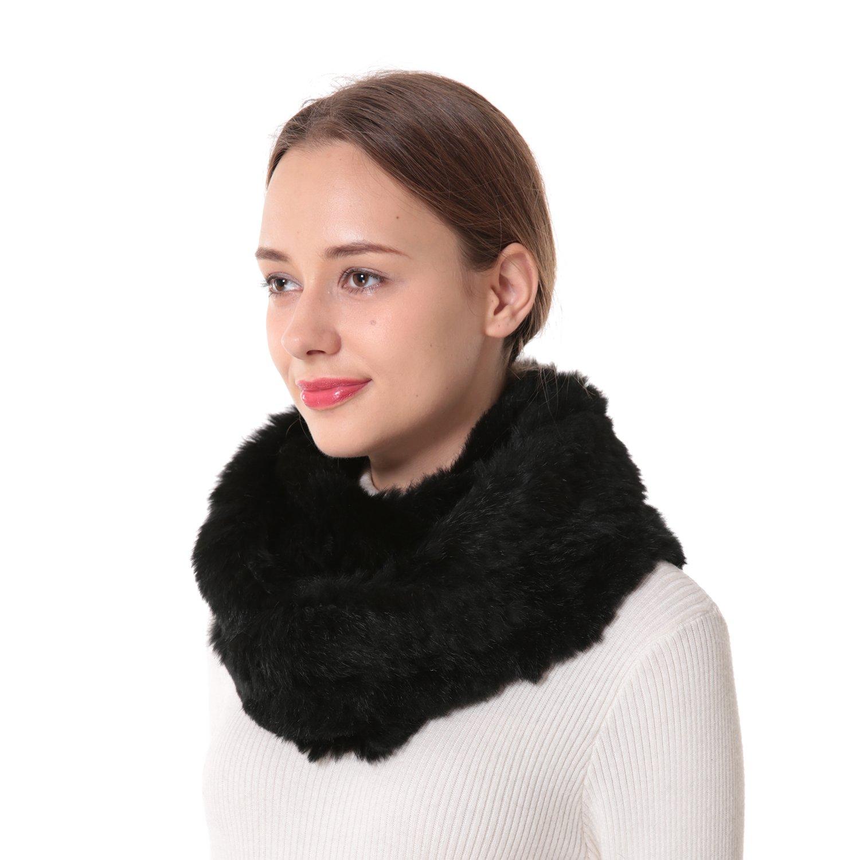 Nice Glory Women S Rex Rabbit Fur Stretch Infinity Scarf Black At