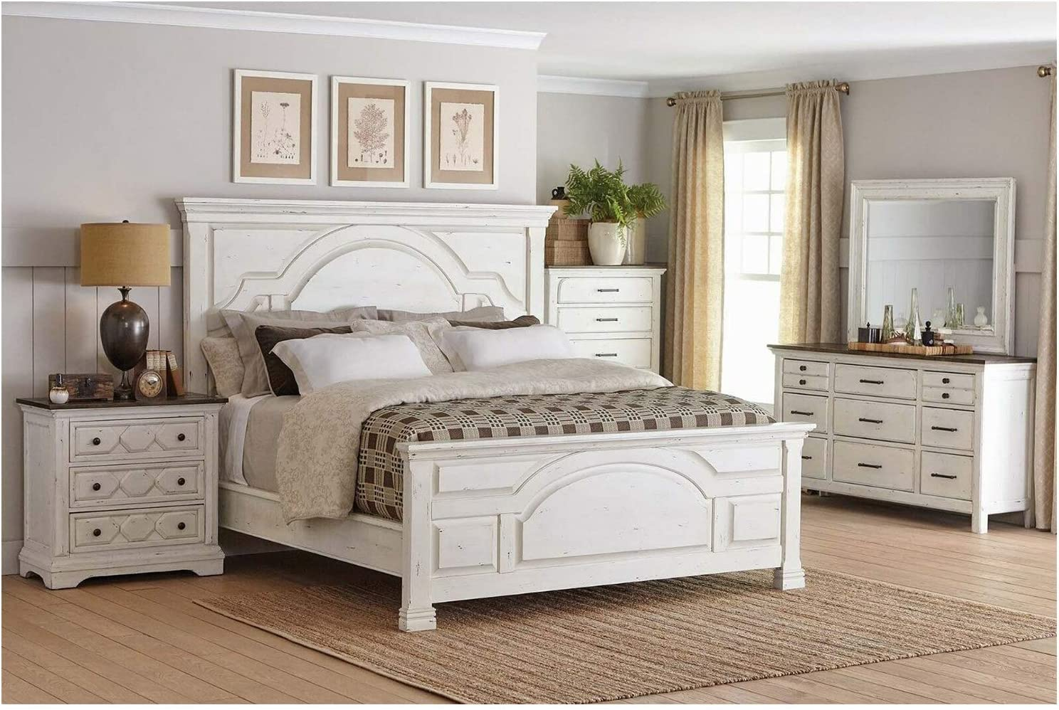 Thaweesuk Shop New 4 Piece Antique White Country Style Rustic Farmhouse Full King Size Bedroom Set Furniture Bed Nightstand Dresser Mirror Department Hardwood Solid Pine Wood