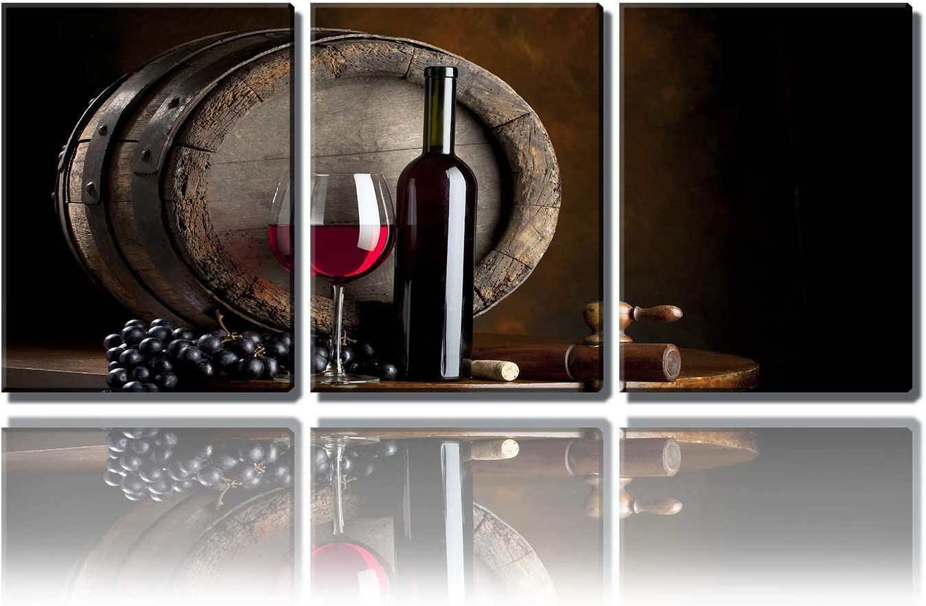 erolrail Wall Art Painting—Red Wine and Fruit with Glass and Barrel for Bar Kitchen Pictures Print On Canvas Food The Picture for Home Modern Decoration(12x16inx3pcs)