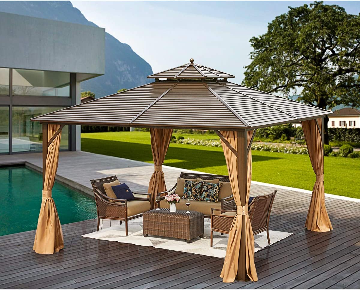 MELLCOM 12' x 12' Hardtop Gazebo Galvanized Steel Outdoor Gazebo Canopy Double Vented Roof Pergolas Aluminum Frame with Netting and Curtains for Garden,Patio,Lawns,Parties