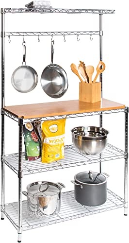 Seville Classics Baker s Rack for Kitchens, Solid Wood Top, 14 x 36 x 63 H