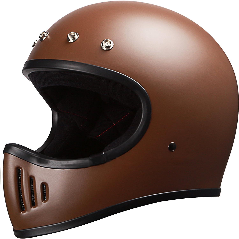 Motocross Off-Road Motorcycle Full Face Helmet DOT Retro Matte Brown With Visor