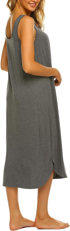 Ekouaer Sleeveless Nightgown Women Long Tank Sleepwear Vest Sleepshirt S-XXL