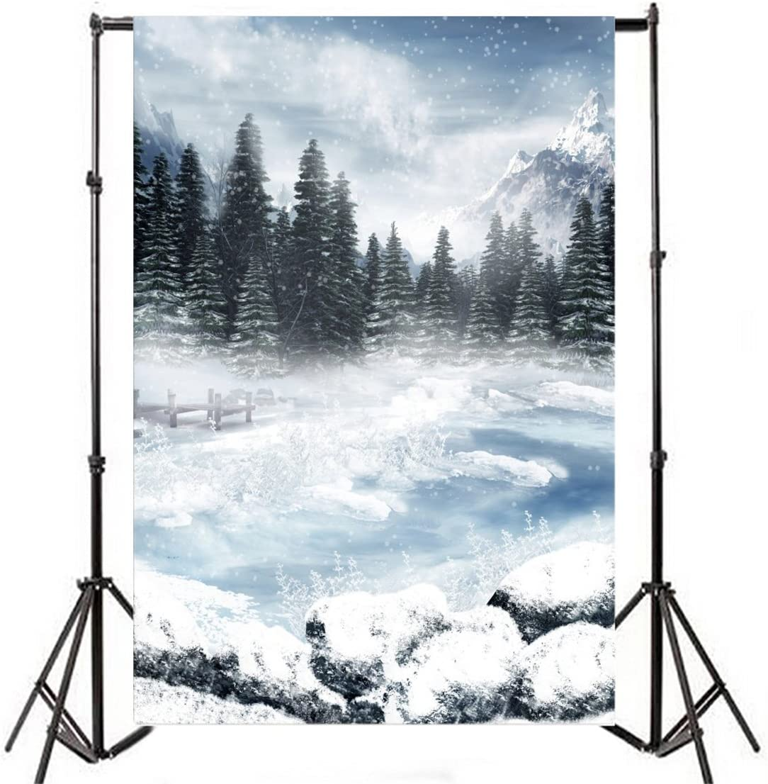 ALUONI 5x3ft Lake House Decor,Snowy Mountaintops Bustling River Pine Trees Rocks Backdrop for Photography Photo Background Props Photography AM019811