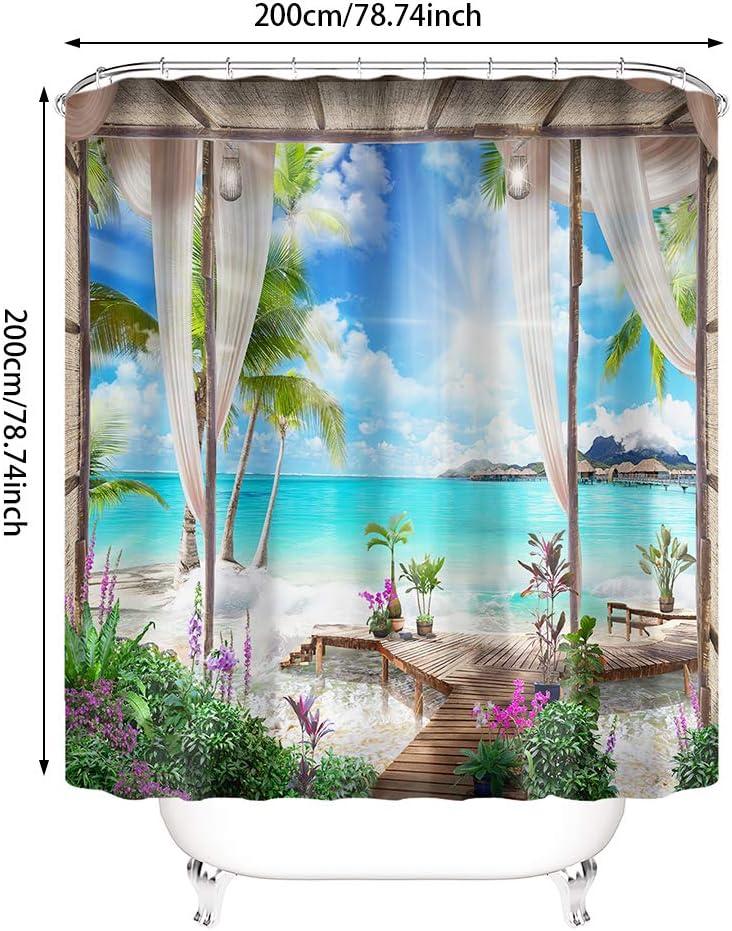 Badvorhang Polyester-Landschaft mit Haken Home Duschvorhang Naturlandschaft Badezimmer Dekor Duschvorhang