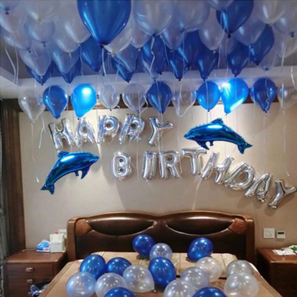 Birthday Party Decorations, 100pcs Dark Blue & Light Blue & White Latex Balloons, 2 Blue Dolphin Foil Bollons & Silver Foil Letter Balloons for Romantic Celebrations - Bulk Decorations Kit for Girls, Boys & Adults HOMTTEK