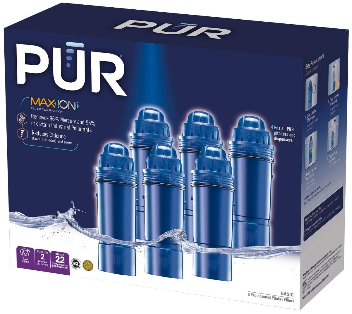 PUR Water Filters Provide Up to 240 Gallons of Clean Water CRF-950Z   Fits Any Pitcher Replacement or Dispensers (PACK OF 6)