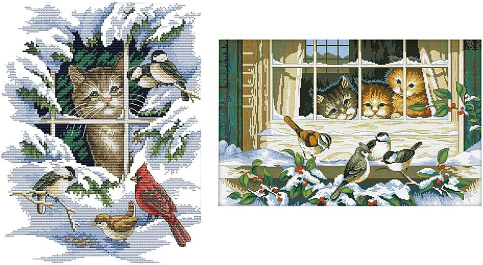Stamped Cross Stitch Kit 11CT Embroidry Cloth for Beginners Handicraft Lovers Kitten /& Birds