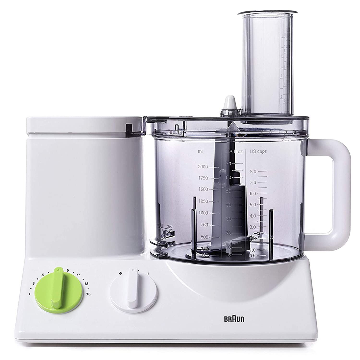 Braun FP3020 12 Cup Food Processor Ultra Quiet Powerful motor, includes 7 Attachment Blades + Chopper and Citrus Juicer , Made in Europe with German Engineering (Renewed)