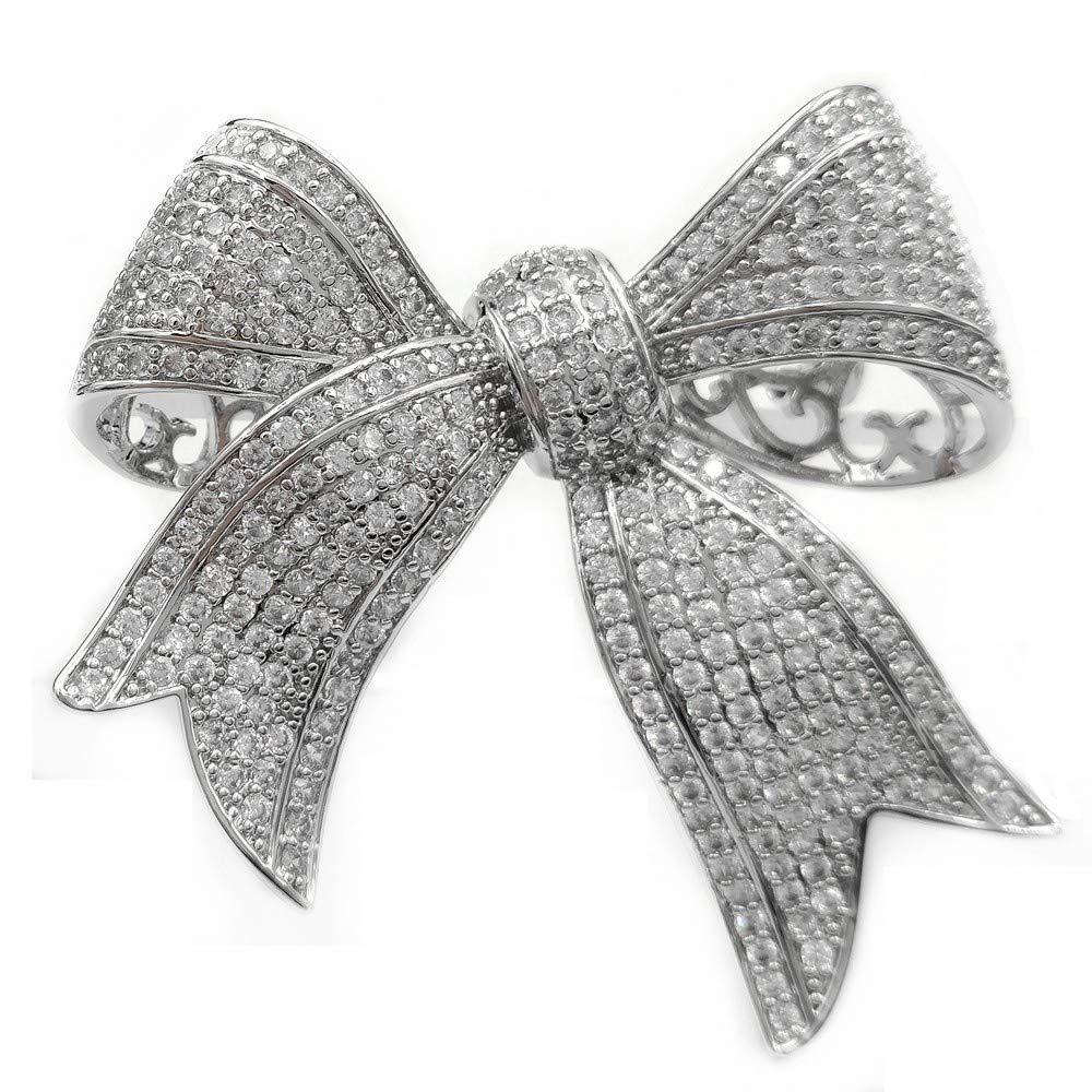 Amazon.com: DREAMLANDSALES Victorian Vintage Full Micro Pave Ribbon Bow  Brooches Silver Tone: Jewelry