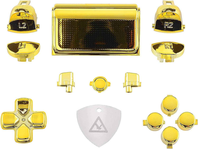 eXtremeRate Botones Mando PS4 Teclas de Repuesto D-Pad R1 L1 R2 L2 Disparador Botón Touchpad Home Share Acción Botón Opciones Kit para Mando Playstation 4 PS4 Slim PS4 Pro CUH-ZCT2(Dorado Cromo)