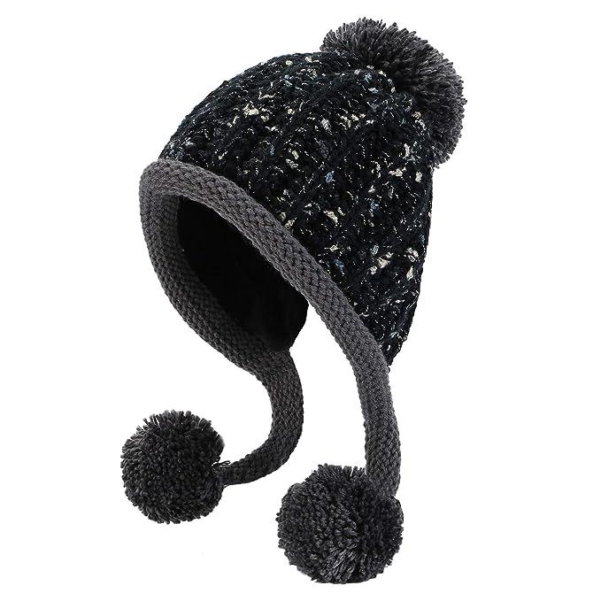 5c08b18a072 HUAMULAN Women Skull Beanie Hat Peruvian Cap Winter Fleeced Ski Ear Flaps  Pompoms