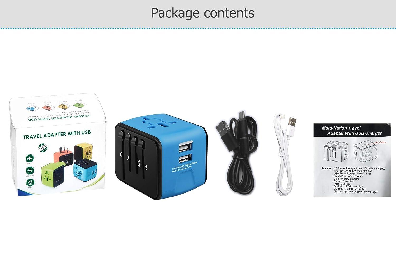 Adaptateur de Voyage avec 2 USB Adaptateur Universel Pris de Courant pour UE//US//UK//AUS Utilis/é dans Plus de 150 Pays Adaptateur Chargeur Blanc Garantie /à Vie iVoler