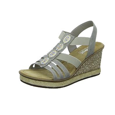 Rieker Damen Sandaletten Sandalette Eleganter Boden 67508-60 Grau 276582 c6919bb7db0
