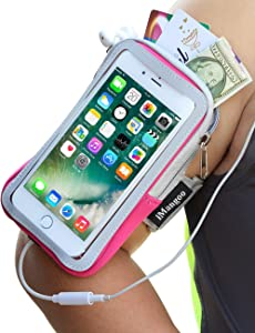 iPhone 7 Plus Armband, iMangoo Cell Phone Pouch Google Pixel 2 XL Running Armband Water Resistant Gym Wrist Bag Sleeve Case Extensible Belt Sports Arm Band for iPhone 7 Plus 8 Plus Pixel 2 XL Pink