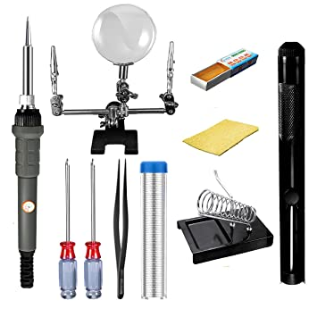 Kit de soldador eléctrico, gochange soldadura 220 V ~ 240 V/60 W, 10 accesorios herramientas con lupa, 2.5 x: Amazon.es: Bricolaje y herramientas