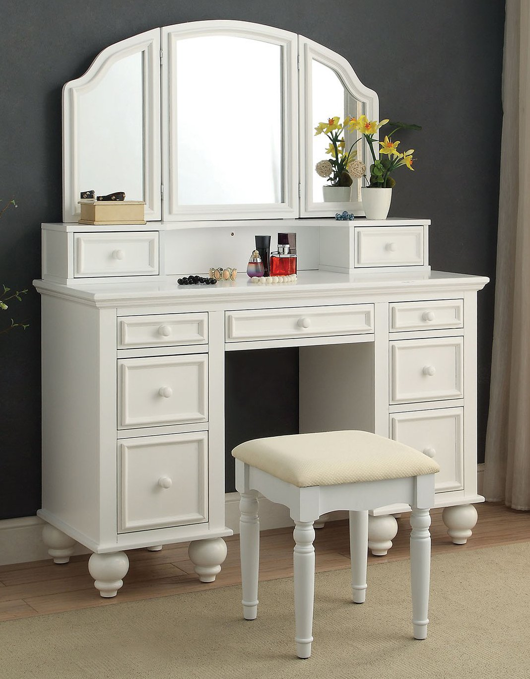 Furniture of America CM-DK6848WH Athy White Vanity with Stool by Furniture of America