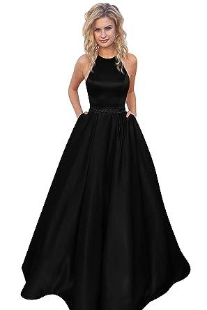 Harsuccting Halter Sleeveless Bead Belt Long Satin Evening Dress ...