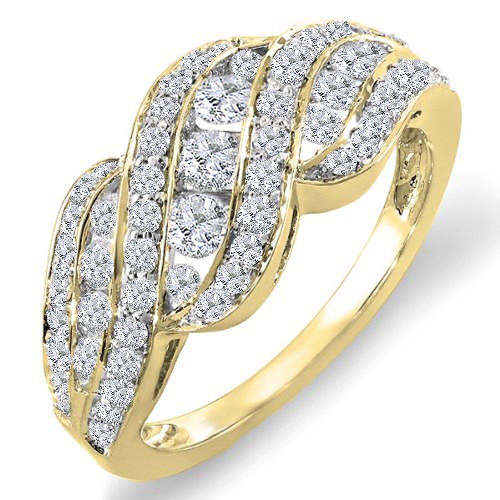 1.00 Carat (ctw) 14K Yellow Gold Round Diamond Ladies Cocktail Right Hand Ring 1 CT (Size 6.5)