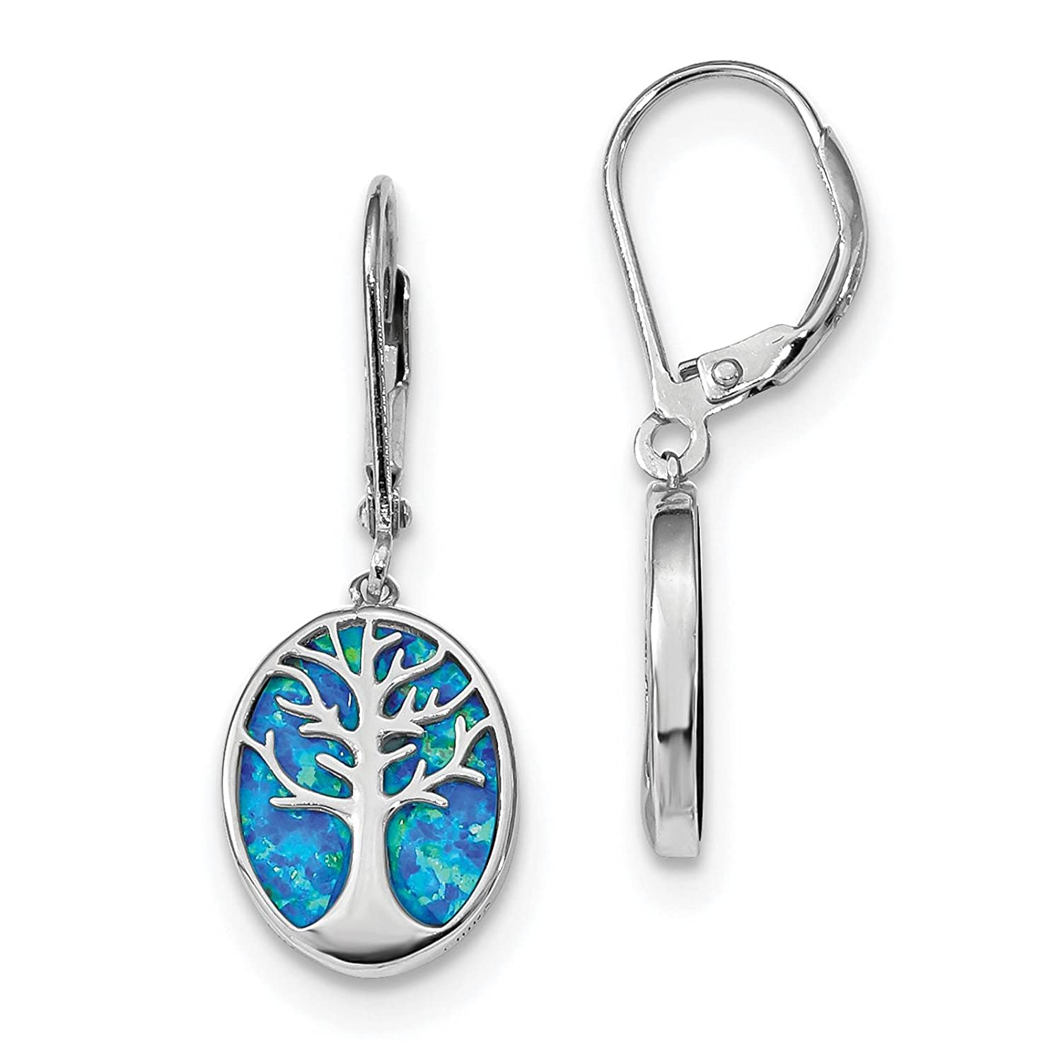 925 Sterling Silver Rhodium-plated Created-opal Tree of Life Dangle Earrings