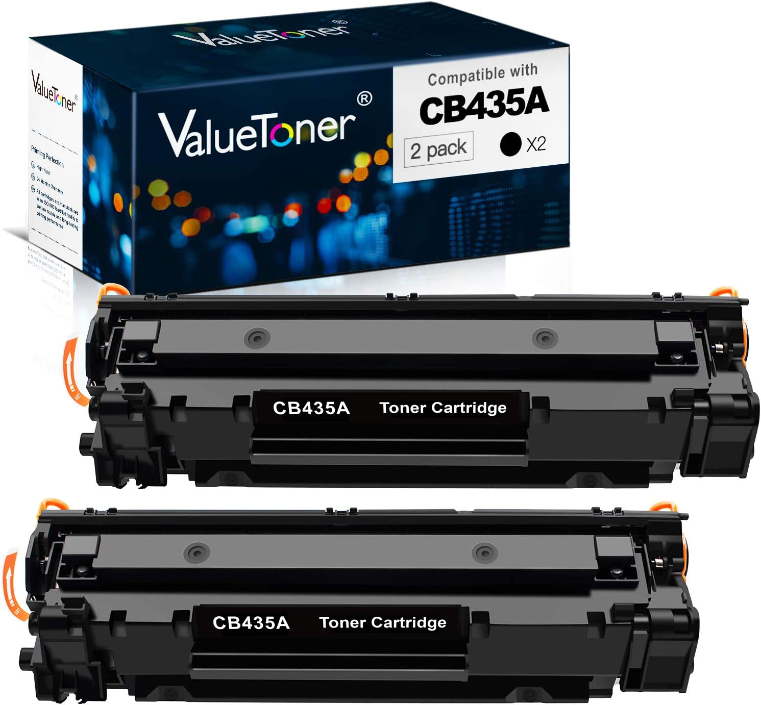 Valuetoner Compatible Toner Cartridge Replacement for HP 35A CB435A for LaserJet P1006, P1009, P1002, P1003, P1004, P1005 Laser Printer (Black, 2 Pack)