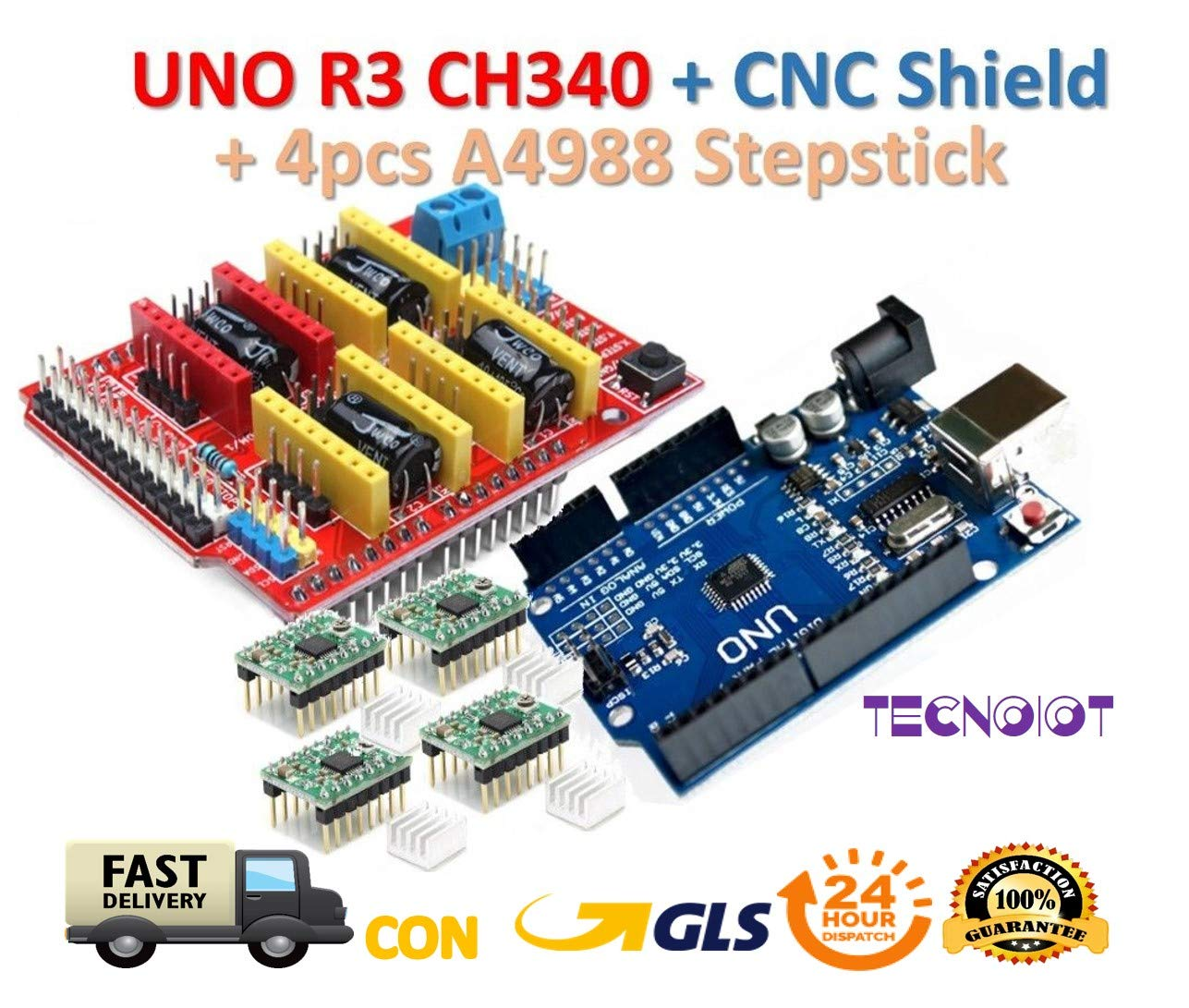 【3D printer kit】 CNC Shield V3.0 + UNO R3 Board + 4pcs Stepper motor controller A4988 with heat sink for 3D printer TECNOIOT UNO-R3-CNC-V3-A4988