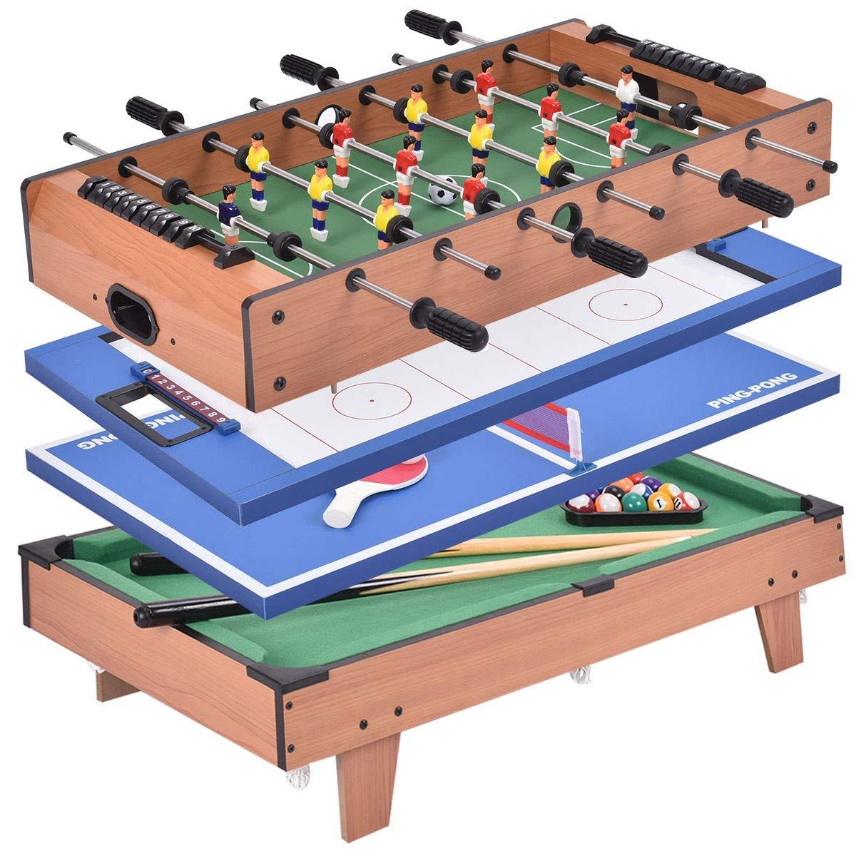 USA_BEST_SELLER 4 in 1 Multi Game Swivel Steady Combo Game Table Hockey Soccer Foosball Pool Tennis Table