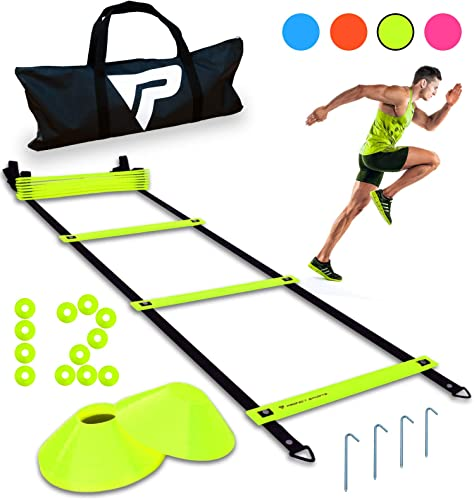 Pro Agility Ladder and Cones – 15 ft Fixed-Rung Speed Ladder with 12 Disc Cones for Soccer, Football, Sports, Exercise, Workout, Footwork Training – Includes 4 Metal Stakes and Heavy Duty Carry Bag