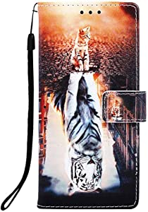 Aiyze for Apple iPhone 8 Case,iPhone 7 Case,iPhone 6s Phone Case,iPhone 6 Cover PU Leather Wallet Kickstand Wrist Strap Credit Card Slot Magnetic Closure Stand Flip Full Body Protective Cat and Tiger