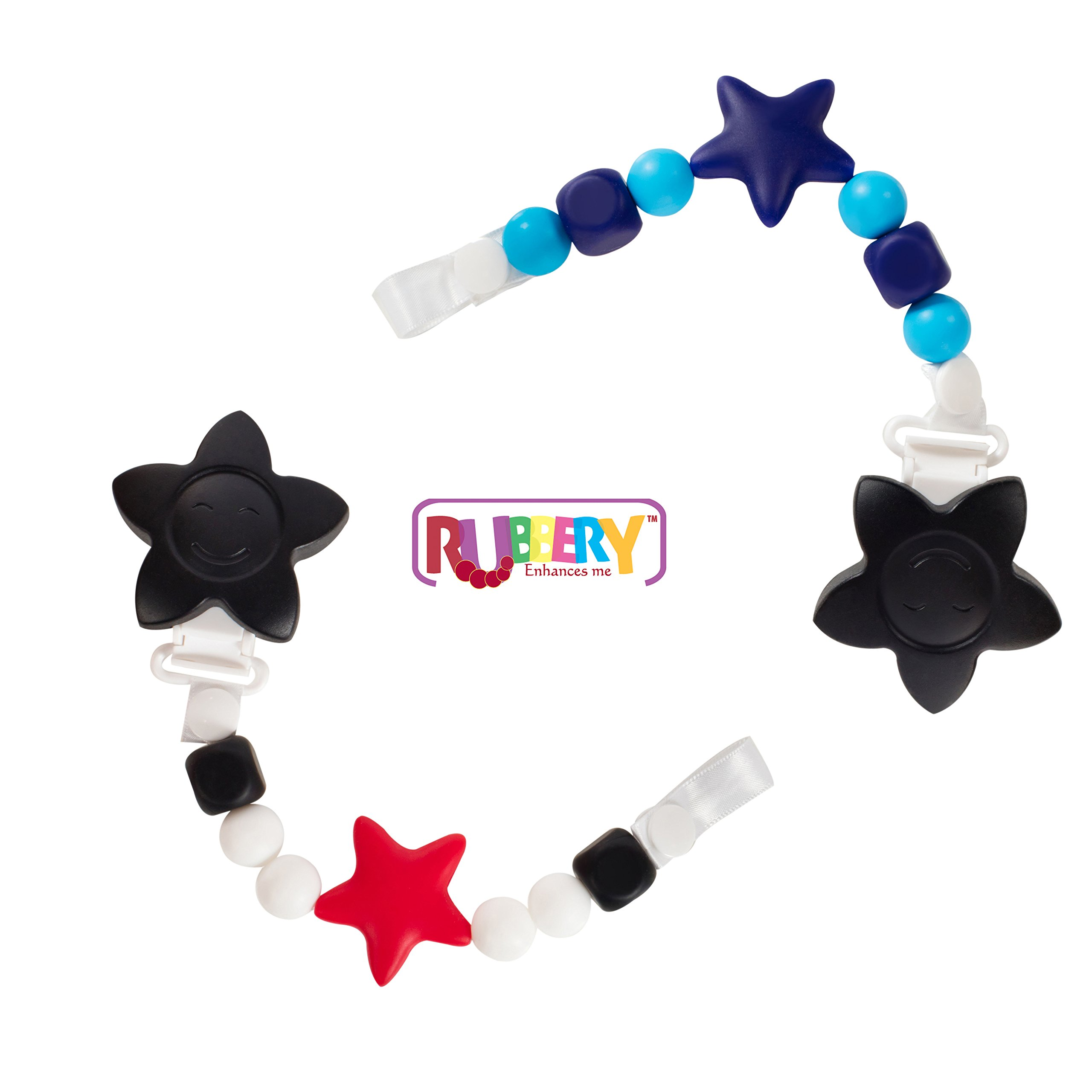 SALE 2 Black and Red Teether Toy Pacifier Clip Baby Girl or Boy Star Beaded Silicone Teething Toy and Pacifier Clip Light Blue Navy Black by Rubbery Enhances me