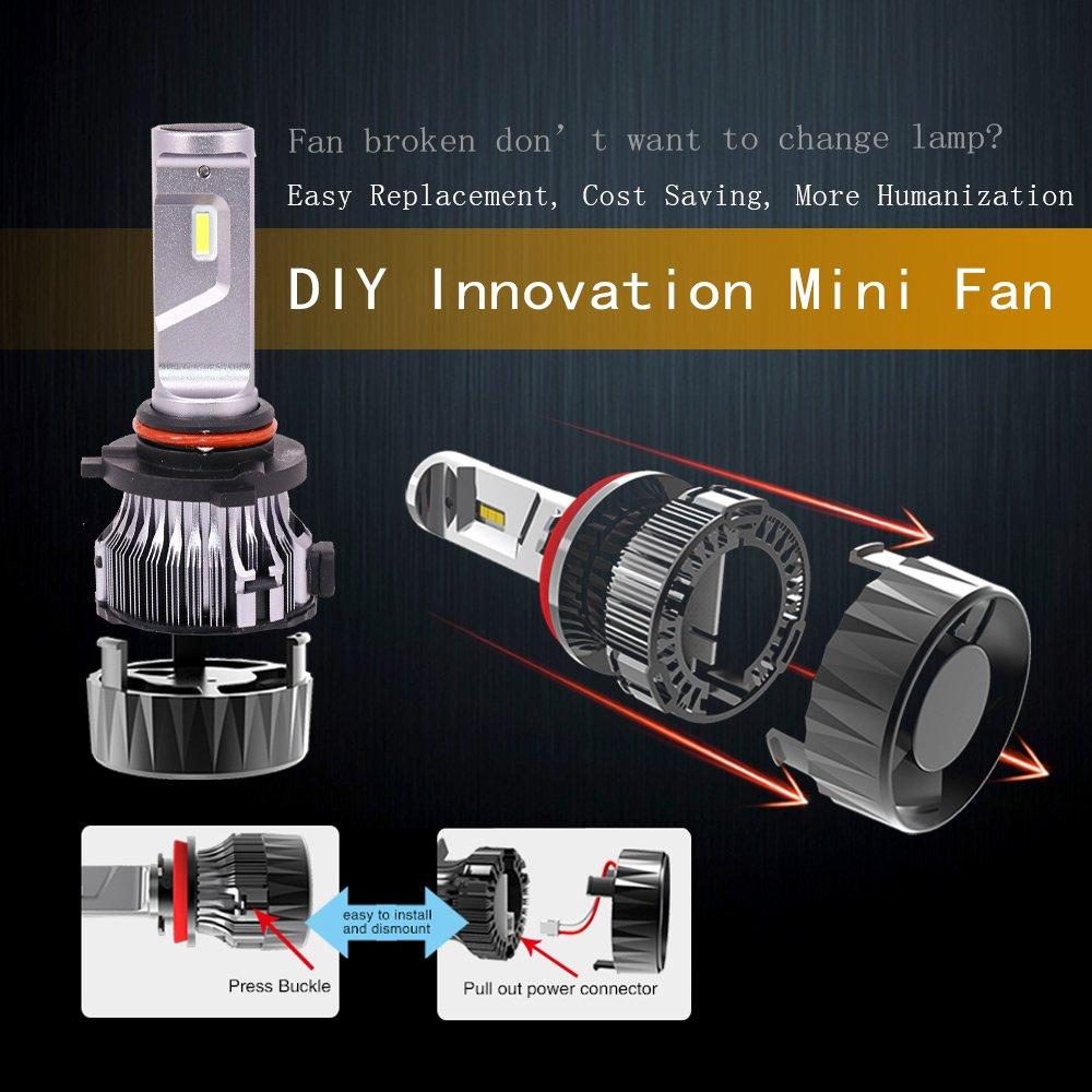 Amazon.com: Diesel Auto 9005 HB3 Led Headlight Bulbs-10000LM 60W 6500K Cool White- 9005 CREE Led Headlight Conversion Kit, Fan Removable Mini Size Led Car ...