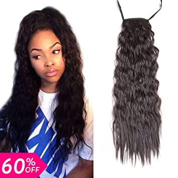 Beautygrace 1 Pack Long Kinky Straight Curly Ponytail Hair Extension Nature Black One Hair Piece
