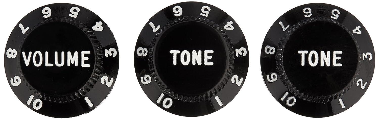 Fender Strat Knobs, One Volume, Two Tone, Black 0991365000