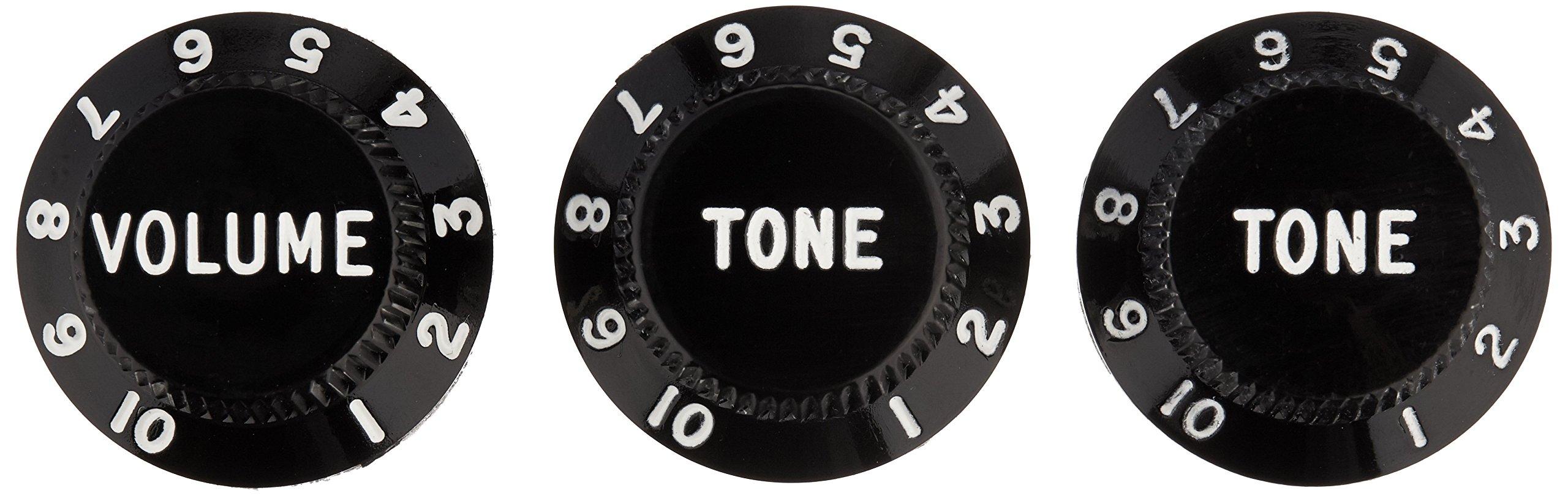 Fender Strat Knobs, One Volume, Two Tone,  Black
