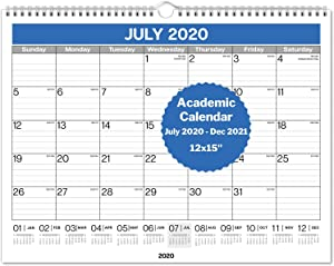 "Dunwell Academic Wall Calendar 2020-2021 - (12x15"") Use Now to December 2021, Hanging Monthly Calendar for Planning and Organizing Home or Office, for School Year and as 2021 Calendar"