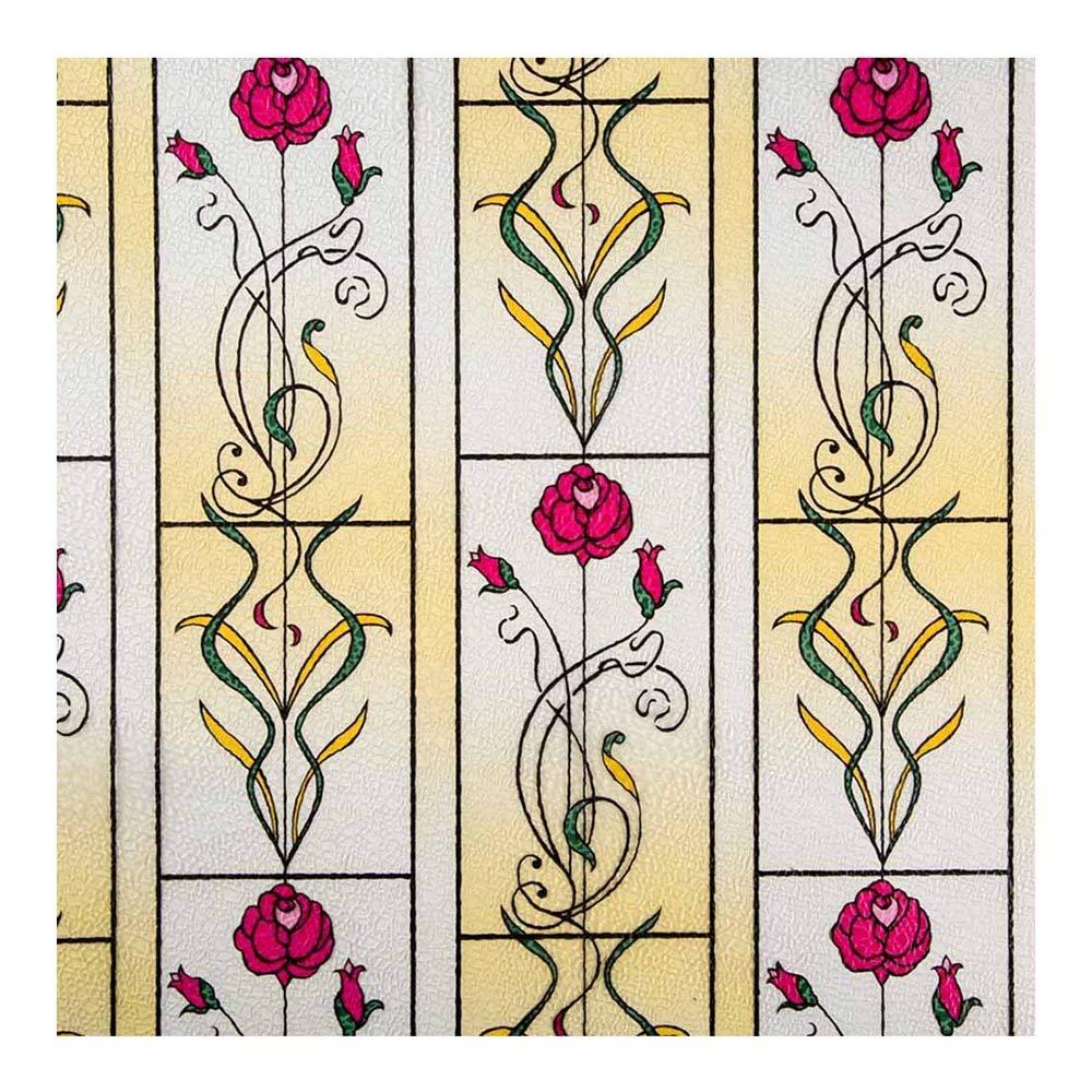 Hoho 50cmx90cm 3d coloré Peinture vitrail film électrostatique pour fenêtre non adhésif de cuisine Maison de confidentialité