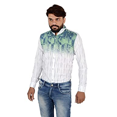 6debfd37c2 Red Apple Fashion Men's Slim Fit Cotton Printed Casual Shirt (Green &  White) (