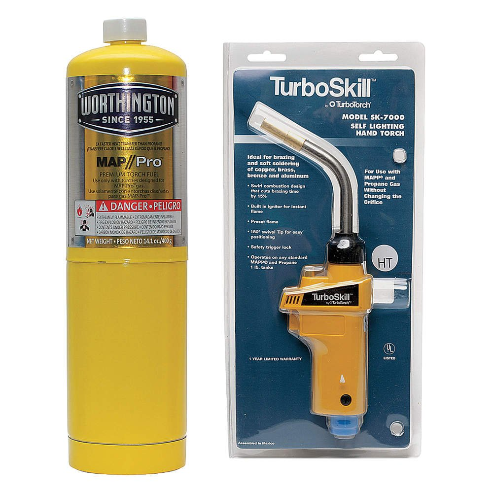 Self Ignition Air//MAPP Propane Dual Fuel Hand Torch Kit 360 Degree Swivel Top