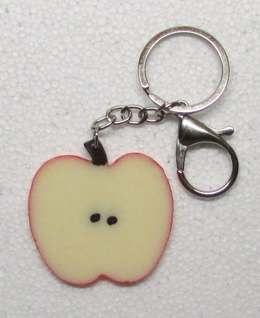 APPLE Slice Shape Fruit KEY CHAIN Ring Keychain NEW